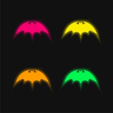 Bat With Rounded Sharp Wings Variant four color glowing neon vector icon stock vector