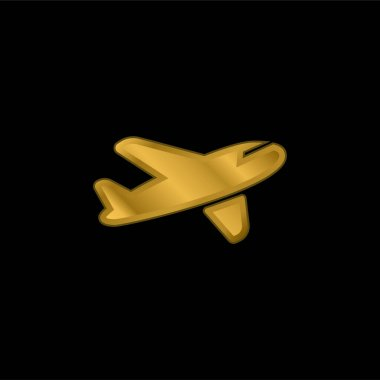 Air Transport gold plated metalic icon or logo vector