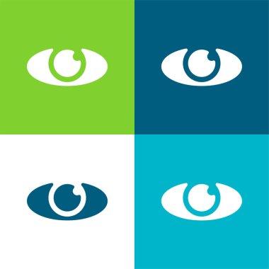 Big Eye Flat four color minimal icon set stock vector