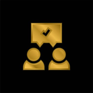 Agreement gold plated metalic icon or logo vector stock vector
