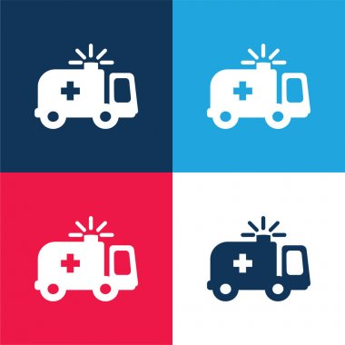 Ambulance blue and red four color minimal icon set