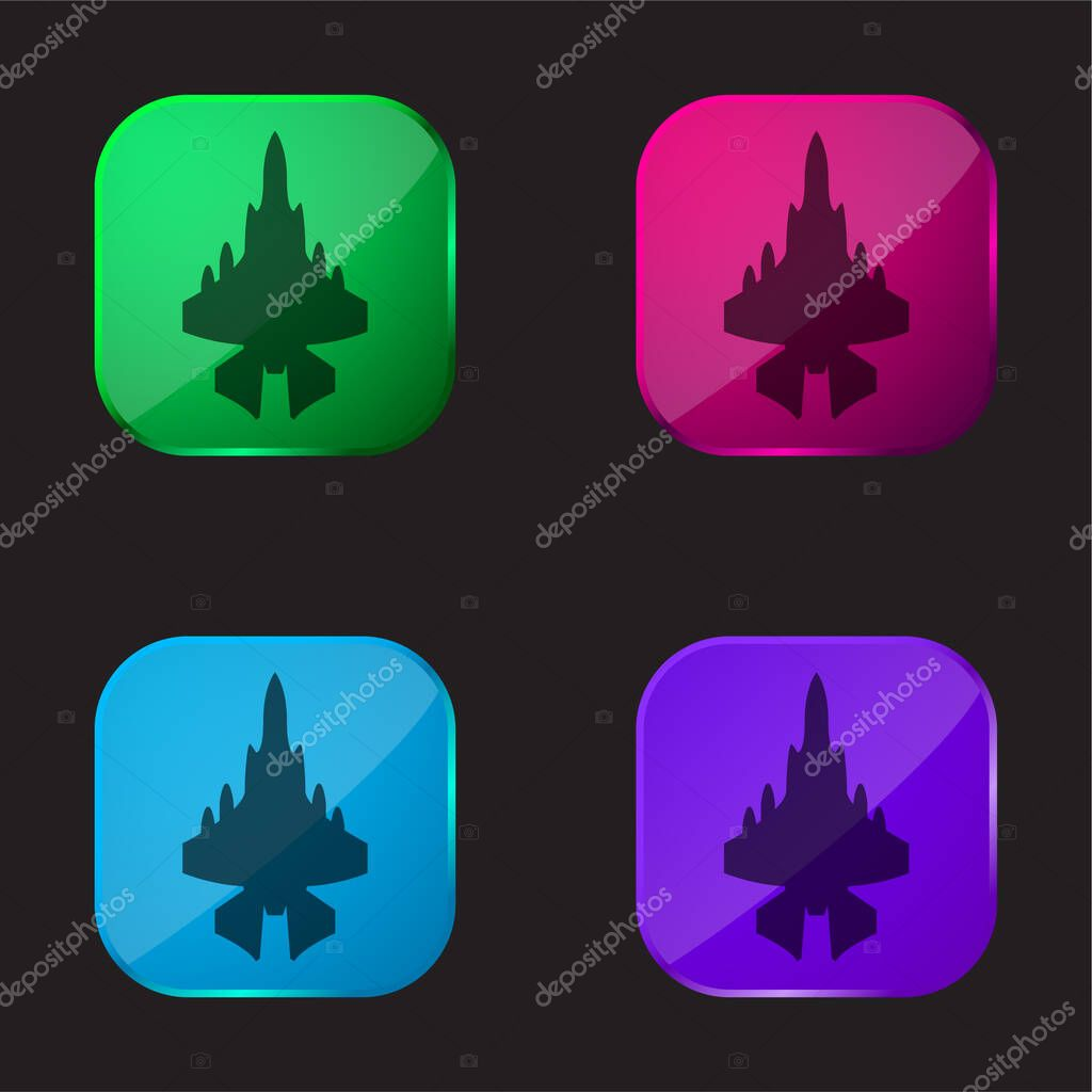 Army Airplane four color glass button icon stock vector