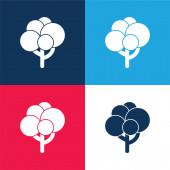 Black Tree Shape With Balls Laub blau und rot vier Farben minimales Symbol-Set