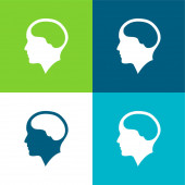 Mozek uvnitř lidské hlavy Byt čtyři barvy minimální ikona nastavena