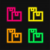Boxes four color glowing neon vector icon