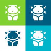 Břicho Byt čtyři barvy minimální ikona nastavena