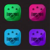 Dohoda čtyři barvy skla ikona tlačítka