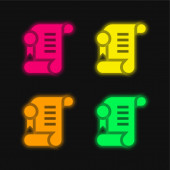 Agreement four color glowing neon vector icon