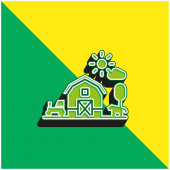 Barn Zöld és sárga modern 3D vektor ikon logó