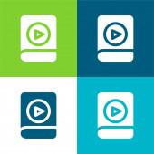 Audiobook Lapos négy szín minimális ikon készlet