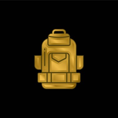 Backpack gold plated metalic icon or logo vector stock vector