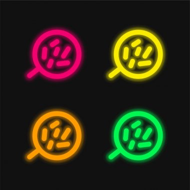 Body Cells Under A Magnification Tool four color glowing neon vector icon stock vector