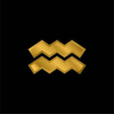Aquarius gold plated metalic icon or logo vector stock vector