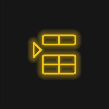Sarı parlak neon ikonun üzerinde