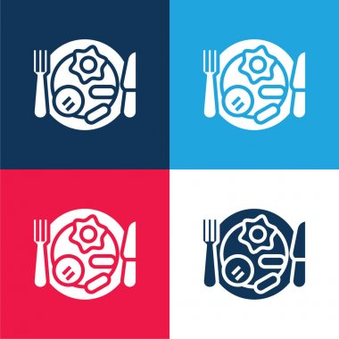Breakfast blue and red four color minimal icon set stock vector