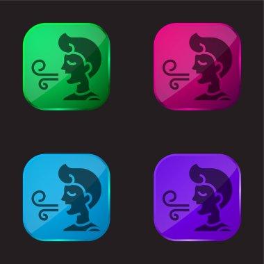 Bad Breath four color glass button icon stock vector