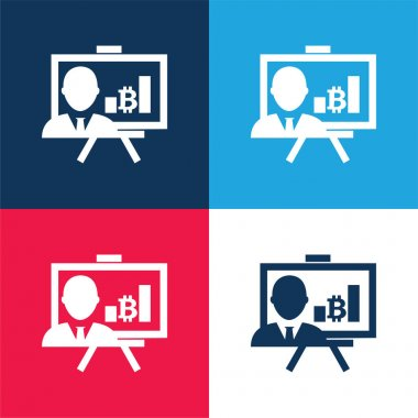 Bitcoin Presentation With Bars Graphic blue and red four color minimal icon set stock vector
