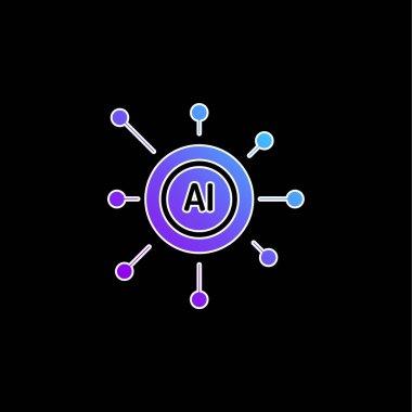 Artificial Intelligence blue gradient vector icon stock vector