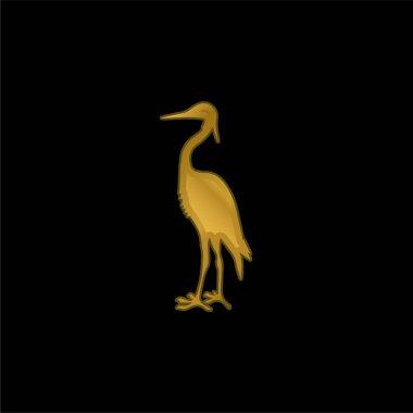 Bird Crane Shape gold plated metalic icon or logo vector stock vector