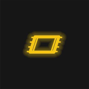Plaj havlusu sarı parlak neon ikonu