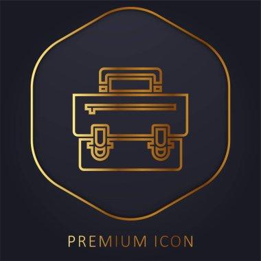Briefcase golden line premium logo or icon stock vector