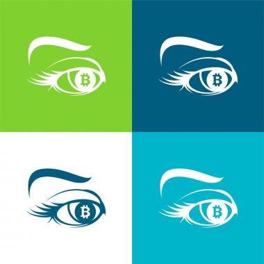 Bitcoin Sign In Eye Iris Flat four color minimal icon set stock vector