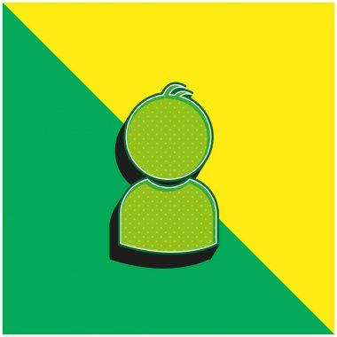 Boy Green and yellow modern 3d vector icon logo stock vector