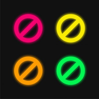 Block four color glowing neon vector icon stock vector