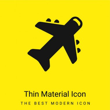 Airplane minimal bright yellow material icon stock vector