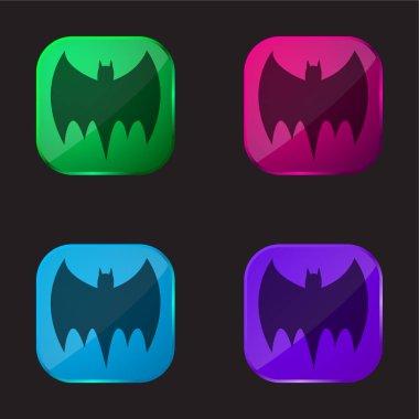 Bat Black Silhouette four color glass button icon stock vector