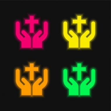 Bless four color glowing neon vector icon stock vector