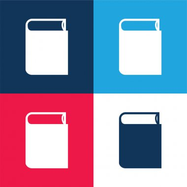 Book Closed Black Object blue and red four color minimal icon set stock vector