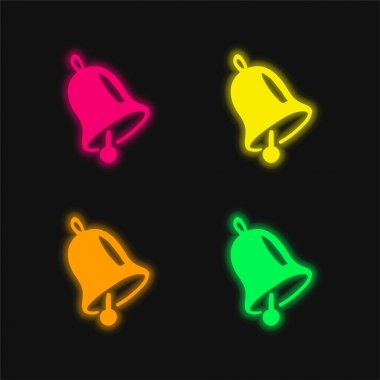 Bell four color glowing neon vector icon stock vector