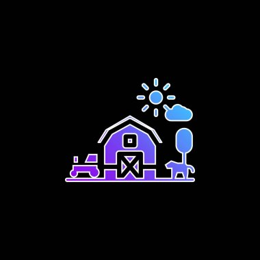 Barn blue gradient vector icon stock vector