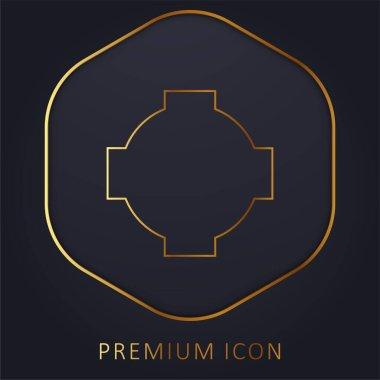 Black Cross Shield golden line premium logo or icon stock vector