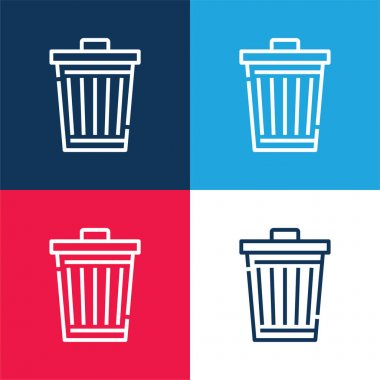 Bin blue and red four color minimal icon set stock vector