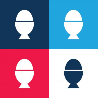 Boiled Egg blue and red four color minimal icon set stock vector
