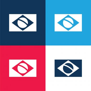 Brazil Flag blue and red four color minimal icon set stock vector