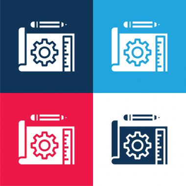 Blueprint blue and red four color minimal icon set stock vector