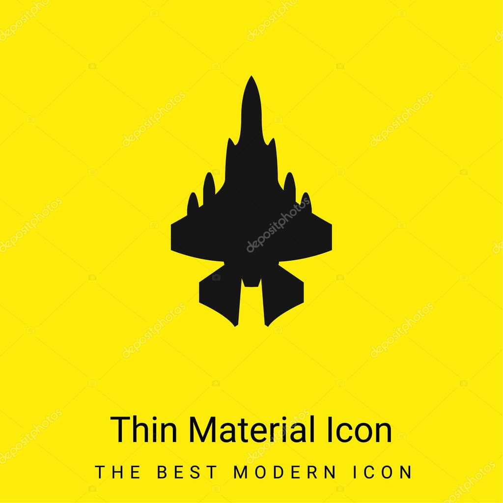 Army Airplane minimal bright yellow material icon stock vector