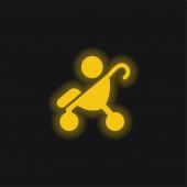 Baby auf Kinderwagen Seitenansicht Silhouette gelb leuchtenden Neon-Symbol