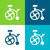 Kerékpár Lapos négy szín minimális ikon készlet