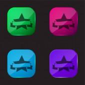 Ocenění Symbol pěti špičaté hvězdy s nápisem stuha čtyři barevné sklo tlačítko ikona