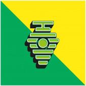 Bienenkorb Grünes und gelbes modernes 3D-Vektorsymbol-Logo