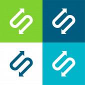 Šipka se dvěma body ve tvaru S Plocha čtyři barvy minimální ikona nastavena