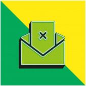 Bad Review Zöld és sárga modern 3D vektor ikon logó
