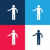 Basic Silhouette blau und rot vier Farben minimales Symbol-Set