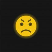 Ikona hněvivě žlutého zářícího neonu