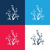 Zweige mit Blättern blau und rot vier Farben Minimalsymbolsatz
