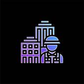 Ikona vektoru modrého přechodu architektury